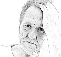 Mann mit Symptomen